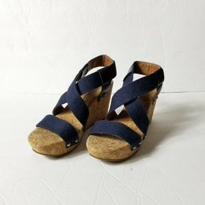 Lucky Brand Wedge Striped Fabric Upper Sandals